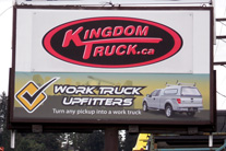 digital printed, laminated vinyl, on top of existent pilon sign graphics
